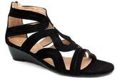 "Cordani Francette"" Black Suede Wedge Sandal With Back Zip"