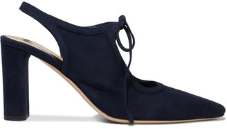 The Row Camil Bow-detailed Suede Slingback Pumps