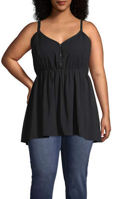 A.N.A Womens V Neck Sleeveless Babydoll Top-Plus