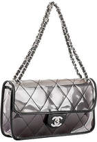 One Kings Lane Vintage Chanel PVC Flap with Leather Trim - Vintage Lux - clear/black/silver