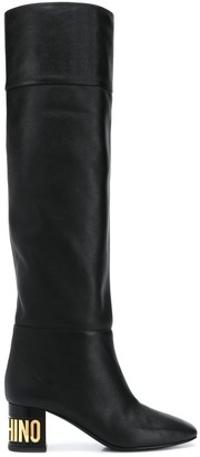 Moschino Logo Plaque Over-The-Knee Boots