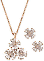 Charter Club Rose Gold-Tone Crystal Flower Pendant Necklace and Stud Earrings Set, Only at Macy's