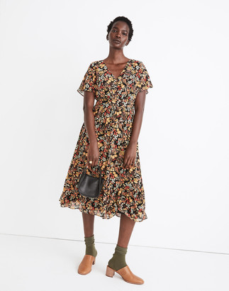 Madewell Dolman-Sleeve Ruffle-Hem Midi Dress in Flower Garden