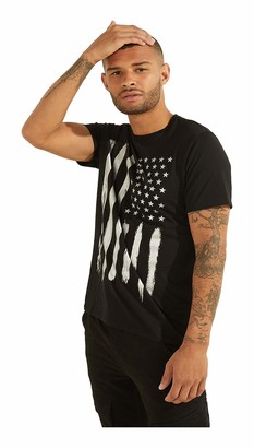 GUESS Men's Short Sleeve Metallic USA Flag Tee