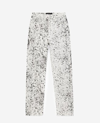 The Kooples Buttoned black and white paint-effect jeans