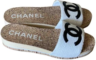 Chanel White Tweed Mules & Clogs