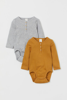 H&M 2-pack Henley Bodysuits - Yellow