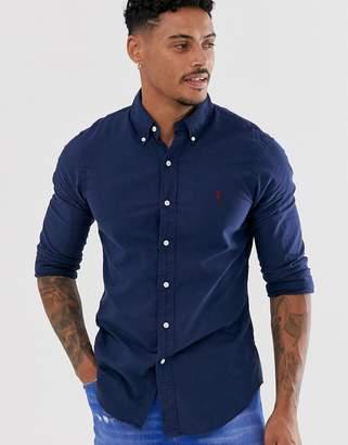 Polo Ralph Lauren garment dyed oxford shirt slim fit button down player logo in navy
