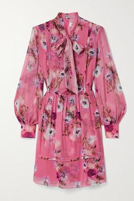 Erdem Remy Pussy-bow Floral-print Silk Crepe De Chine Mini Dress - Bubblegum