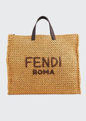 Fendi Men's Roma Raffia Tote Bag