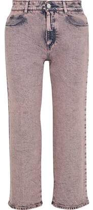 Stella McCartney The Cropped Bleached High-rise Straight-leg Jeans