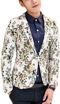 uxcell® Men Notched Lapel Allover Flower Print One Button Down Blazer M