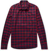 Barena Slim-Fit Checked Cotton-Twill Half-Placket Shirt