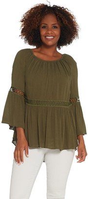 Du Jour Crinkle Gauze Bell Sleeve Top with Lace Inset