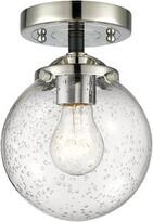 "clear Rufina 1 - Light 6"" Simple Globe Semi Flush Mount Wrought Studio Fixture Finish: Black Polished Nickel, Shade Color: Clear, Bulb Type: 60 Watt Incande"