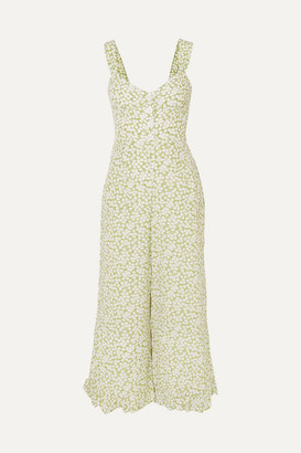 Faithfull The Brand Bodhi Cropped Shirred Floral-print Crepe Jumpsuit - Light green