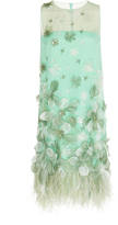 Andrew Gn Bead And Feather Embroidered Mini Dress