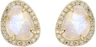 Kamaria Moonstone Pebble Studs With Diamonds