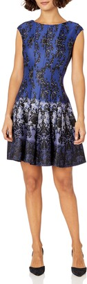 Gabby Skye Women's Petite Cap Sleeve Round Neck Chandelier Print Fit and Flare Dress