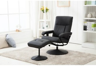 Reclining Massage Chair with Ottoman Ebern Designs Upholstery: Black