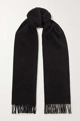 Bottega Veneta Logo-embossed Fringed Cashmere And Wool-blend Scarf - Black