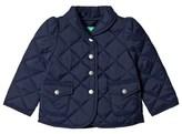 Benetton Navy Quilted Barn Jacket Peplum Waist