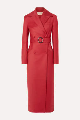 MATÉRIEL Belted Double-breasted Wool-blend Coat - Red