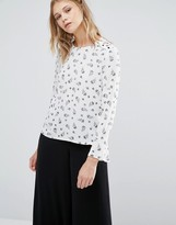 Warehouse Dotty Floral Print Top
