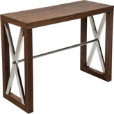 """The Well Appointed House Dark Wood Console with Silver Metal """"X"""" Design - LOW STOCK, ORDER NOW!"""