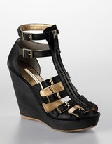 12th Street by cynthia vincent Luella Zip-Up Leather Platform Wedge Sandals