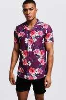 Floral Print Short Sleeve Revere Shirt