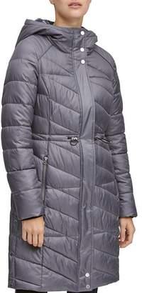 Andrew Marc Brookdale Velvet Trim Puffer Coat