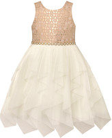 Princess Girls American Princess Girls' Special Occasion Dresses PEACH - Peach & Ivory Floral Pleated Sleeveless A-Line Dress - Toddler
