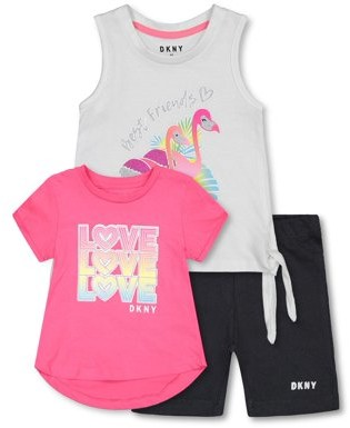 DKNY Toddler Girl Short Sleeve Love T-shirt, Tank Top & Bike Shorts, 3pc Outfit Set