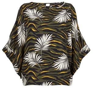 Dorothy Perkins Womens Khaki Animal Print Split Sleeve Top, Khaki