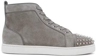 Christian Louboutin Louis Spike Embellished High Top Suede Trainers - Mens - Grey