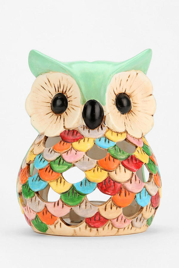 Urban Outfitters Ceramic Snow Owl Tea Candle Holder