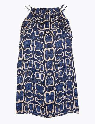 M&S CollectionMarks and Spencer Satin Animal Print Halter Neck Vest Top