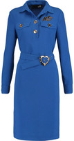 Love Moschino Abito Belted Appliquéd Crepe Dress