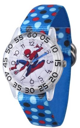 Marvel Spider-Man Boys' Clear Plastic Time Teacher Watch, Blue Polka Dot Stretchy Nylon Strap