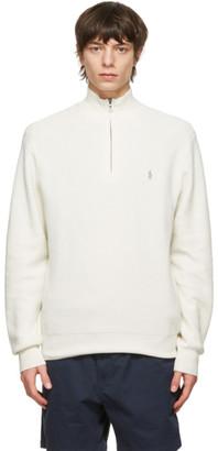 Polo Ralph Lauren Off-White Cotton Mesh Quarter-Zip Sweater