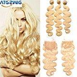 ATOZWIG Malaysian Virgin Hair With Closure 8A #613 Blonde Malaysian Body Wave Hair Bundles With Lace Closures 4Pcs Cara Hair Products
