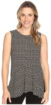 Vince Camuto Sleeveless Deco Layer Dots Ruffle Front Blouse