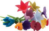 Trudeau 0978024 Set of 12 Floral Wine Charms 11 cm Multi-Coloured Silicone