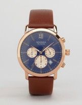 Sekonda Chronograph Brown Leather Watch With Blue Dial Exclusive To Asos