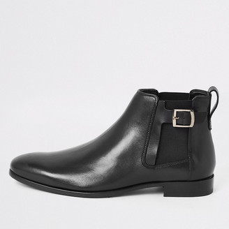 River Island Black leather buckle side boots