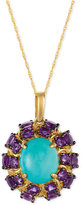 LeVian Le Vian® Robin's Egg TurquoiseTM (3-1/3 ct. t.w.) and Amethyst (3-1/3 ct. t.w.) Pendant Necklace in 14k Gold