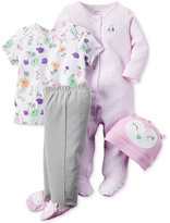 Carter's Baby Girls' 4-Pc. Owl Hat, T-Shirt, Footed Pants & Footed Coverall Set