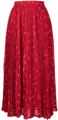 MICHAEL Michael Kors Graphic Print Pleated Maxi Skirt