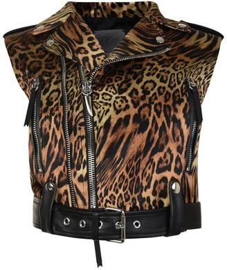 Giuseppe Zanotti Leopard Print Sleeveless Biker Jacket